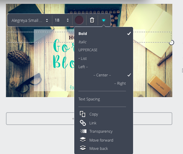 Canva - How to create Gorgeous Blog Graphics - choose text . Four Walls, Rainy Days.