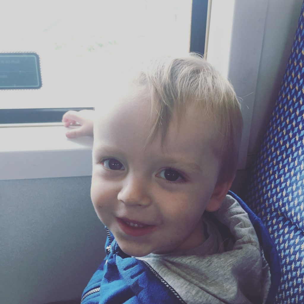 Happy Child on Train on the Way To Fota Wildlife Park - Cork - BadMammy.com